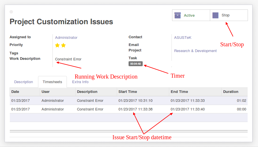 Project Issue Timesheet with Start Stop form