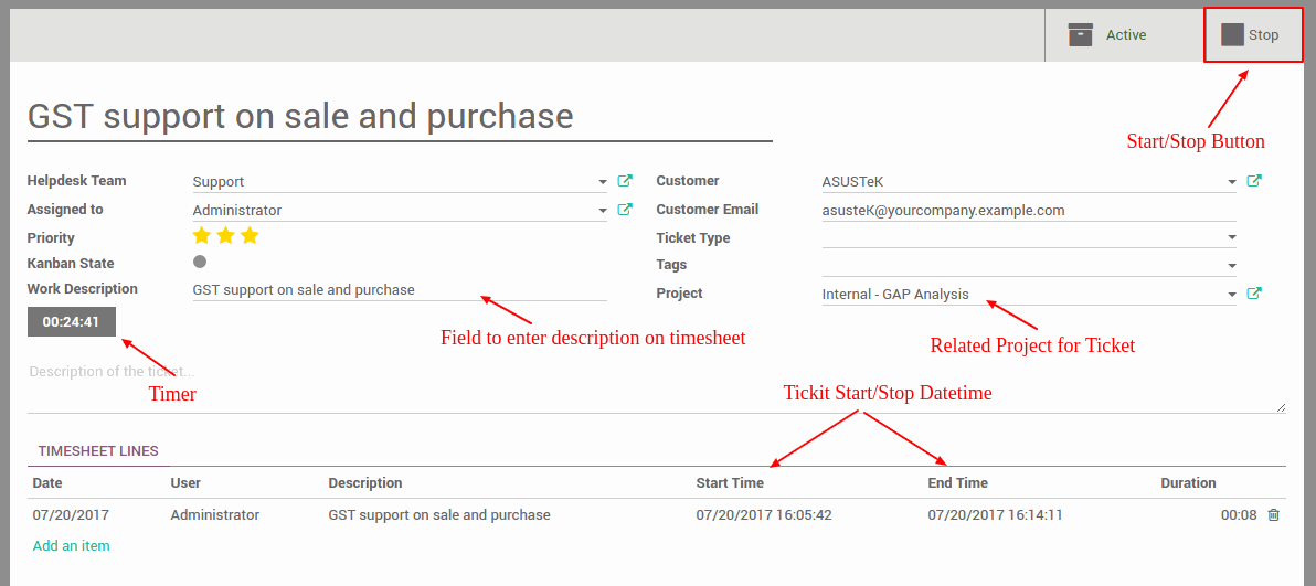 timesheet on helpdesk ticket with start stop in odoo almightycs