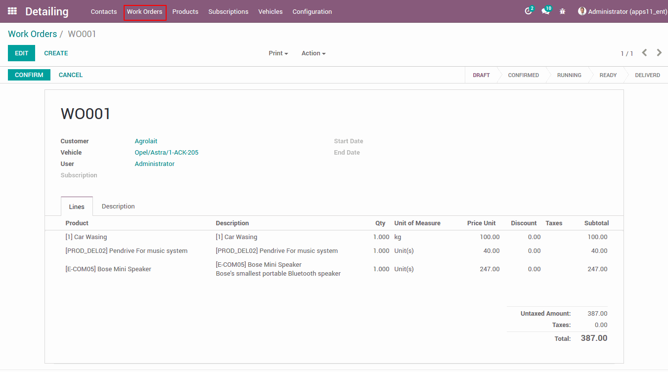 car studio management in odoo almightycs