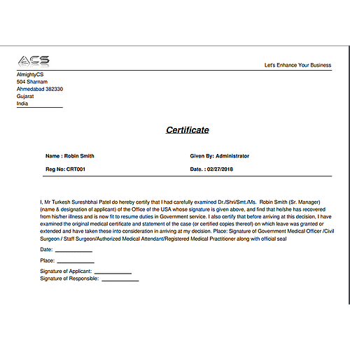Certificate Management System report